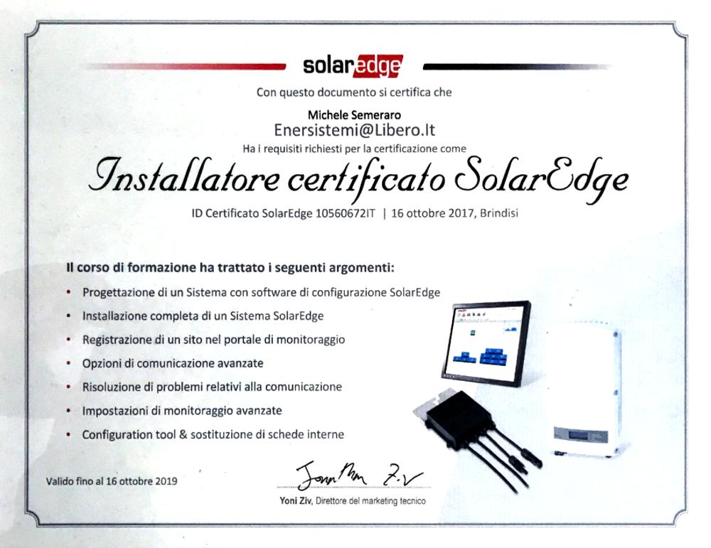 Certificazione installatore SolarEdge
